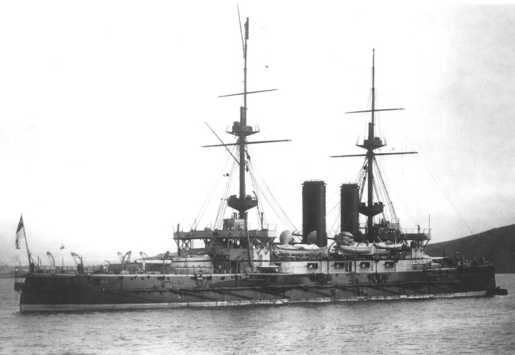 HMS Bulwark, pictured in 1904.  Image kindly provided by Michael W. Pocock, Maritimequest.com.